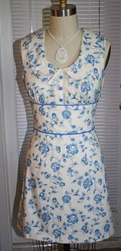 Vintage Inspired 60's Mini Babydoll Dress Blue & by Morningstar84, $45.00