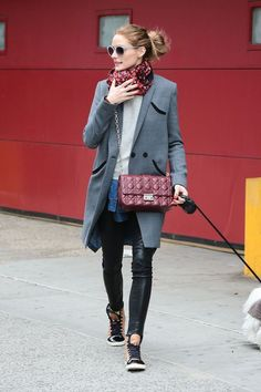 Olivia Palermo leather leggings and sneakers
