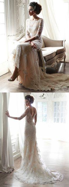 Vintage wedding Dress,2016 Lace bridal gowns,Elegant lace Long train Wedding dress