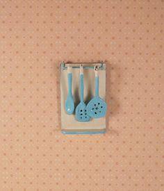 Dollhouse Miniature, Sky Blue,Utensil Rack, Vintage Style- Last One. $15.00, via Etsy.