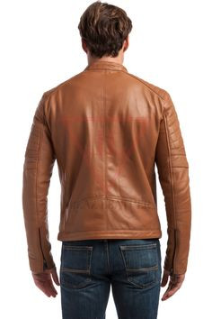 SID Mens Classic Browny Leather Jacket Biker Jacket