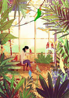 앵무새 열 마리 Art And Illustration, Botanical Illustration, Graphic Design Illustration, Illustrations, Character Drawing, Character Design, Anime Scenery, Colorful Wallpaper, Storyboard