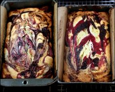 Double Berry Swirl Greek Yogurt Cake - Incredibly moist, with ribbons of blackberry and raspberry puree