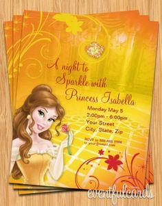 Princess belle birthday party invitation digital by babyfables belle birthday party invitation filmwisefo