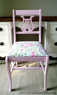Cute refinished chair. I just bought this chair second-hand to refinish for my desk.