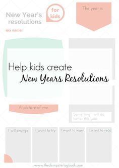 Help kids understand what it means to set goals and make resolutions. A free printable to use with your children or classroom. www.thedempsterlogbook.com