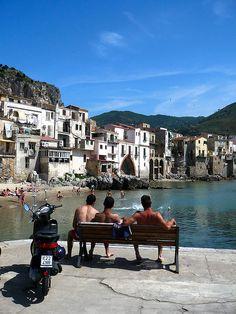 Local Young Men Enjoying a bit of Sun in Cefalù ~~ Sicily