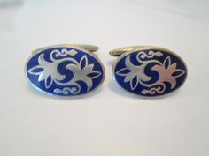 Russian Blue Enamel Oval Art Deco Cufflinks