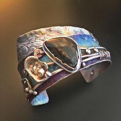 Titanium, fused Argentium silver and Finnish Spectrolite cuff. Silver Jewelry Box, Silver Jewellery Indian, Silver Bracelets, Metal Jewelry, Cuff Bracelets, Silver Ring, Silver Earrings, 925 Silver, Sterling Silver