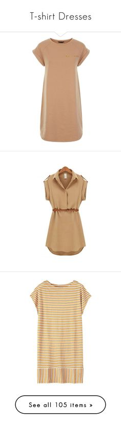 """""""T-shirt Dresses"""" by fufuun ❤ liked on Polyvore featuring dresses, vestidos, camel, short sleeve dress, t shirt dress, sport dresses, short sleeve t shirt dress, round neck dress, tops and khaki"""
