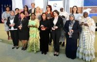 Date: 03/29/2016 Description: Secretary Kerry and Ambassador Russell Pose for a Photo With the 2016 International Women of Courage Award Winners - State Dept Image