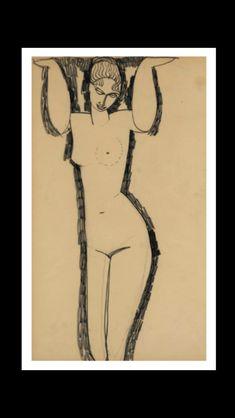 Amedeo Modigliani - Cariatide, 1910-1911 - Fusain sur papier - 43 x 26,5 cm