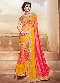 trendy multi colour weaved pure silk saree in golden