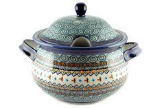 Polish stoneware, Jade Swirl Soup Tureen, 12.5 cup capacity, Blue Rose Pottery
