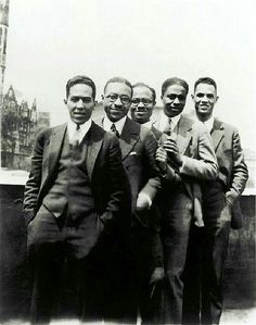 Langston Hughes, Charles S. Johnson, E. Franklin Frazier, Rudolph Fisher and Hubert Delany (brother of the Delaney Sisters) overlooking St. Nicholas Avenue in Harlem in the 1920s.