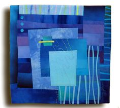 Melody Johnson: Quilts Arte - Galerias - Ruas e Série Rivers Blue Quilts, Mini Quilts, Quilt Modernen, Square Art, Contemporary Quilts, Small Art, Fabric Art, Blue Fabric, Machine Quilting