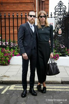 Fashionistable Justin O'Shea and Veronika Heilbrunner after Mulberry in London.