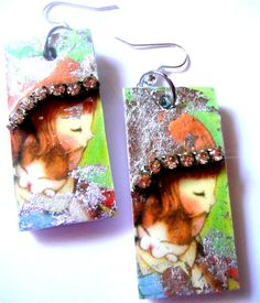 "super adorable ""hug a #kitty"" #decoupage earrings resin earrings #handmade by mayasfairytale on #Etsy"
