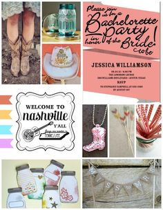 What a fun idea! A Nashville themed bachelorette party...created by the talented April Hoff on the House by Hoff blog.