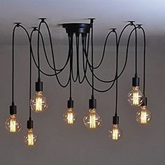 Buyee® 8 Lights Vintage Edison Lamp Shade Multiple Adjustable DIY Ceiling Spider Lamp Pendent Lighting Chandelier Modern Chic Easy Fit Industrial Dining Light (8 lights,bulbs not inclued)): Amazon.co.uk: Kitchen & Home