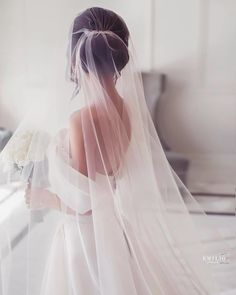 Theres nothing that can add as much elegance to a bridal look as a cathedral veil does. Wedding Dress With Veil, Wedding Veils, Wedding Bride, Dream Wedding, Bridal Veils, Wedding Ideas, Wedding Shot List, Wedding Photoshoot, Couple Photography Poses