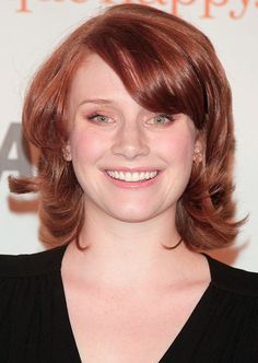 Short Red Hairstyle - Pale Red Layered Blonde with Puff and Side-Swept