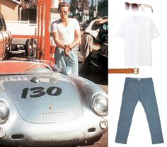 A lesson from James Dean in how you should never underestimate good basics: a white T-shirt and sunglasses will never be a bad style move. Style note: accessorise with a vintage Porsche, obvs