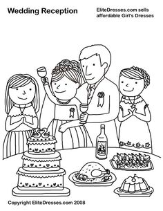 EliteDresses.com Sells affordable Girls Dresses!!! Wedding Reception-Coloring page