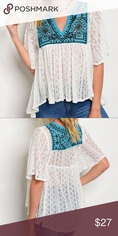 Ivory & Turquoise Crochet Top Ivory crochet lace short sleeved shirt with turquoise and black embroidered bib neckline.  V-neck, high-low bottom hem, empire waist, flowy style. Tops Blouses
