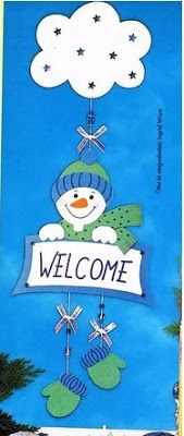 'Welcome' sign with a snowman - paper craft pattern