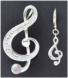 Simply Whispers Jewelry Pierced earrings Pin Pendent Set Music Note. Wear as a pin and earring set or on your favorite chain as a pendent.