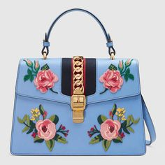GUCCI Sylvie Embroidered Leather Top Handle Bag. #gucci #bags #leather #hand bags #nylon #