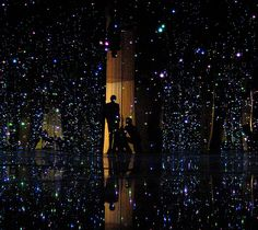 Artist, Yayoi Kusama, is certifiably insane. But HOW COOL IS THIS!? I will see it someday...you walk into a room of dangling lights, reflected by mirrors all around...shut the door behind you and I bet it's like being in another universe.