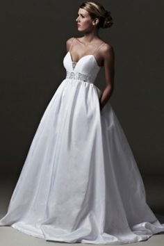 spagetti strap wedding dress | Spaghetti Strap Empire Waist Wedding Dress, Buy cheap Satin Spaghetti ...