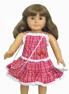 Red Plaid & Eyelet Lace Sun Dress + Purse for American Girl Doll Clothes #Generic