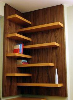 Custom Made Beech Desk; Beech And Walnut Shelves (Neat alternative way to deal with a corner.)