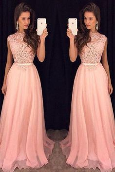 New arrival a-line lace appliqued bodice prom dresses chiffon skirt long formal dresses APD1640