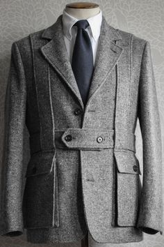 Thom Brown Brooks Brothers black fleece donegal belted jacket.