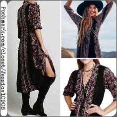 Free People Paisley Print Black Maxi Dress S/M Free People Black Paisley Print Dress  Features : • Paisley print • Lightly washed black fabric (giving the dress a slight vintage loved look) • 3/4 printed sleeves • adjustable tie under bust • Pull over style  • hook and eye closure at front bottom of v-neckline   Size Small. Can fit a medium as well.   In new condition. Worn once    No pp or trades  ✅ Bundle discounts & fair offers welcome Free People Dresses