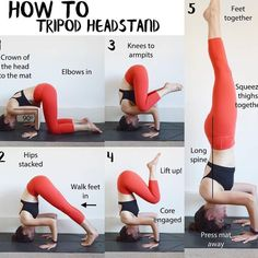here are the steps into a headstand getting to the third