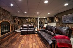"""Our """"would be"""" livingroom- Trophy Room - Alberta Outdoorsmen Forum Man Cave Shed, Man Cave Home Bar, Man Cave Basement, Basement Stair, Gun Rooms, Welcome To My House, Trophy Rooms, Basement Remodeling, Bathroom Remodeling"""