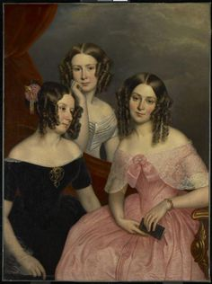 The Three Robinson Sisters George Theodore Berthon (Canadian, Oil on canvas. Art Gallery of Ontario. The elegant and stylish Three Robinson Sisters (Augusta Anne, Louisa Matilda,. Victorian Portraits, Victorian Paintings, Victorian Art, Victorian Fashion, Portraits Victoriens, Family Portraits, Female Portrait, Female Art, Art Gallery Of Ontario