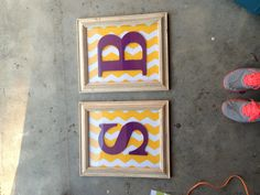 Dorm craft. Roommate initials,adjust colors to match room or school (: