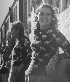 Novelty sweaters from the 1940s in Life magazine. Photo by Nina Leen.