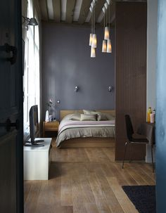Bedroom wooden ceiling and normal style