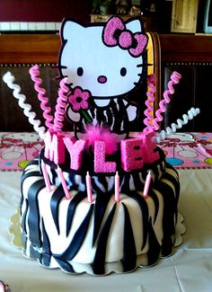 Hello Kitty with zebra print cake topper by OnceUponaScrap on Etsy