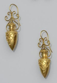 Etruscan revival gold amphora earrings, ca. 1860s | In the Swan's Shadow