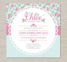 Invitaciones de cumpleaños Shabby Chic por EvietheElephant en Etsy