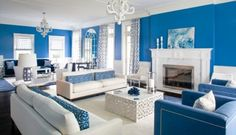Bold Color Abounds in Mabley Handler-Designed Bridgehampton Home - The English Room Blue And White Living Room, Blue Rooms, Decoration Design, Home Decor Accessories, Bold Colors, Living Spaces, Living Rooms, Design Trends, House Design