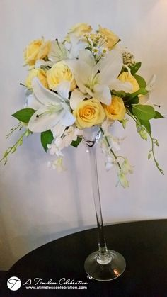 Wedding Flower Centerpiece: White & Yellow Roses, White Lilies, Hydrangeas, Dendrobium Orchids in Martini Vase - A Timeless Celebration Montreal Florist